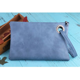 Leather Grommet Envelope Clutch Sky Blue Virtual Glam Shop