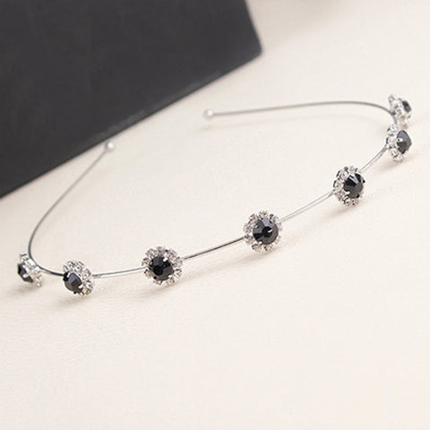 Image of Flower Crystal Headband Slivery Black Virtual Glam Shop