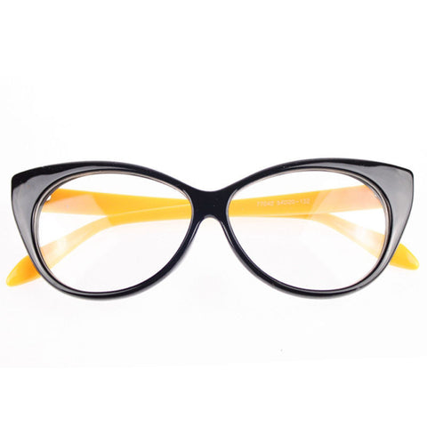 Image of Clear Cat Eye Glam Fashion Eyewear Yellow Virtual Glam Shop