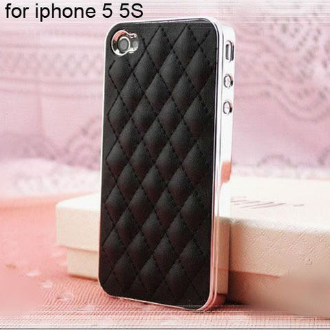 Image of Soft Leather Tuft Phone case black for 5 5S Virtual Glam Shop