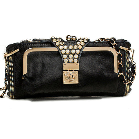 Ladies Night Out Clutch black horsehair Virtual Glam Shop