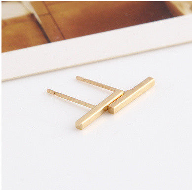 Simple T Bar Earrings gold Virtual Glam Shop