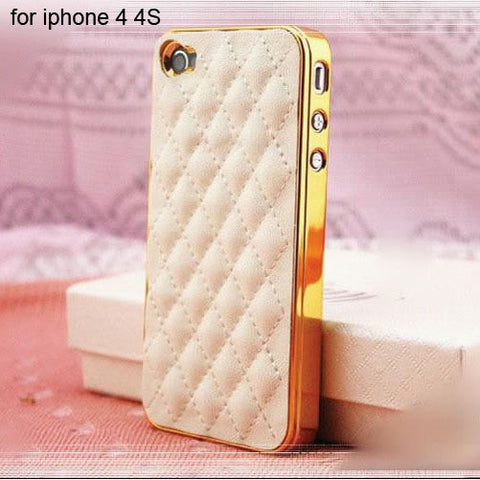 Soft Leather Tuft Phone case gold for 4 4S Virtual Glam Shop