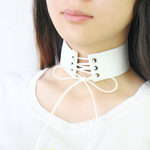 All Laced Up Choker white Virtual Glam Shop