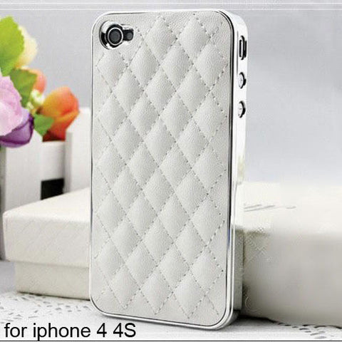 Soft Leather Tuft Phone case white for 4 4S Virtual Glam Shop