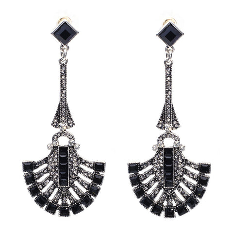 Chandelier Drop Earrings Black Virtual Glam Shop