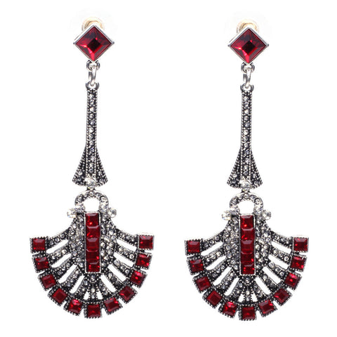 Image of Chandelier Drop Earrings Red Virtual Glam Shop