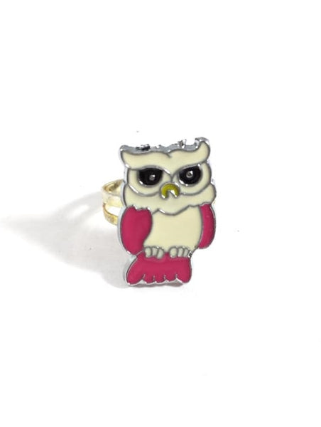 Pink and White Owl Adjustable Ring