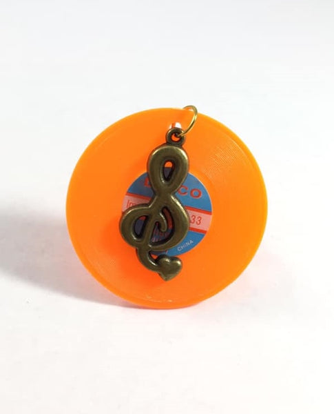 Orange Music Record Treble Clef Filigree Adjustable Ring
