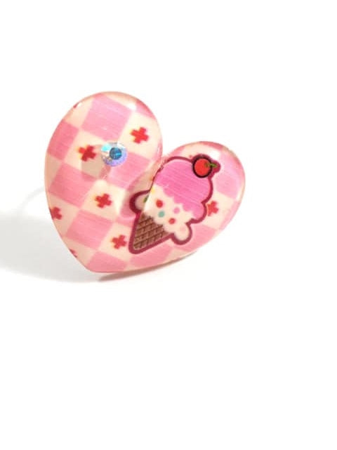 Strawberry Ice Cream Cone Heart Adjustable Ring