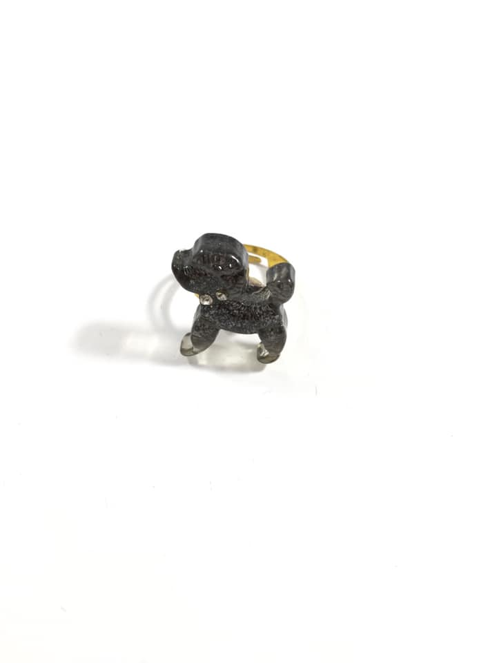 Black Poodle Puppy Adjustable Ring