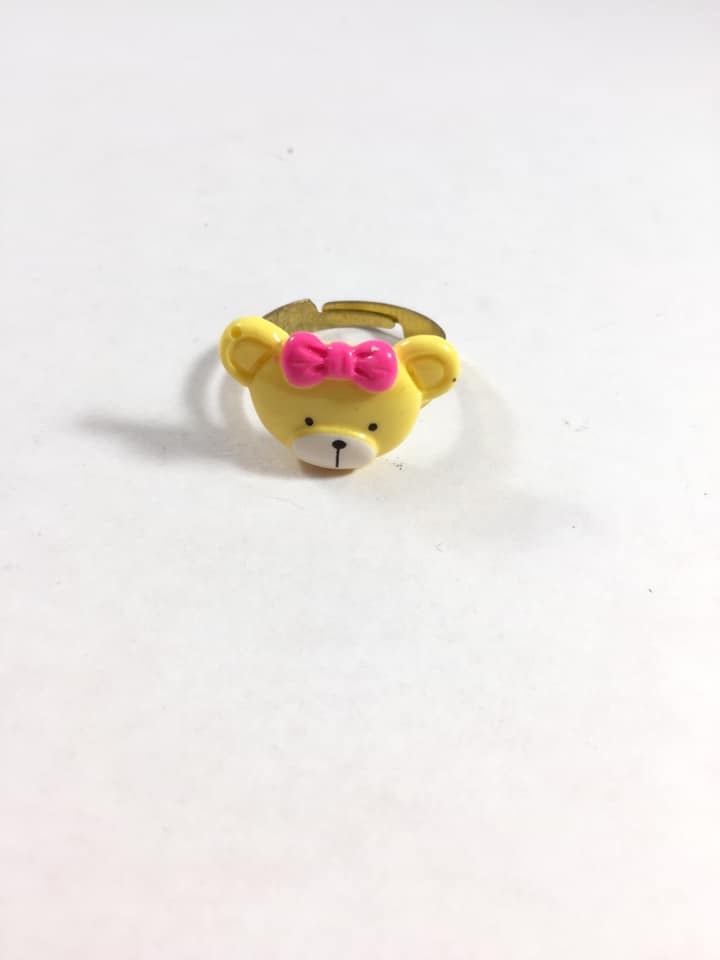 Yellow Teddy Bear Adjustable Ring