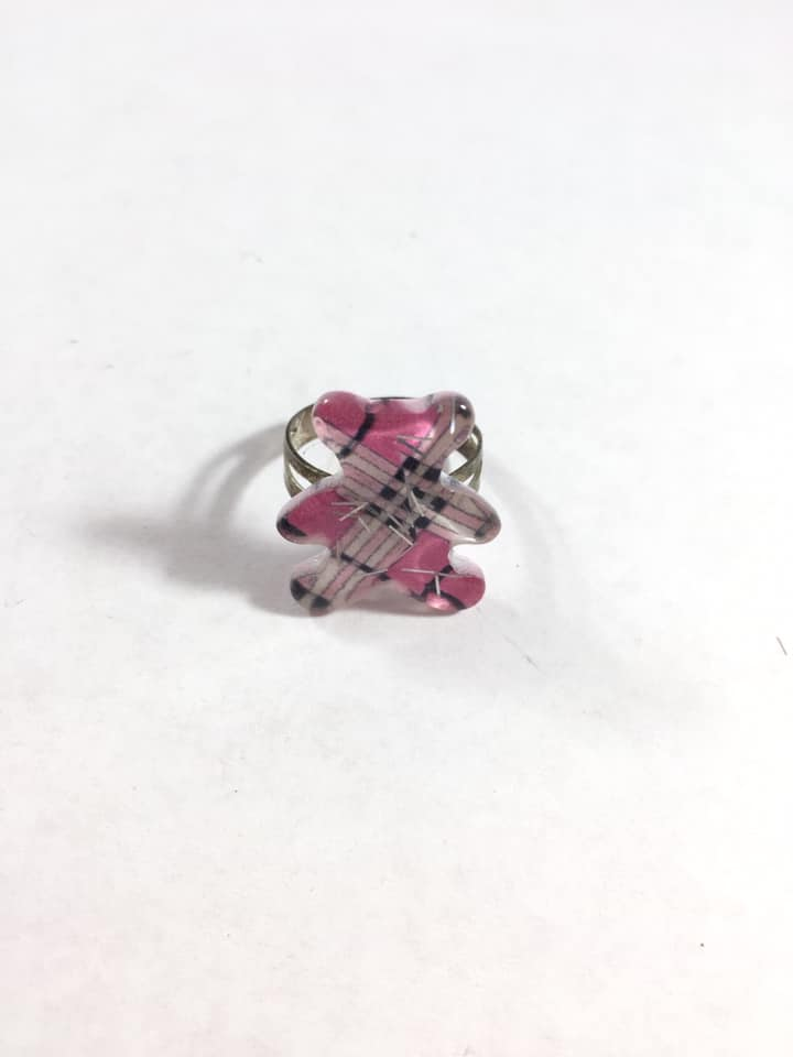 Pink Plaid Teddy Bear Adjustable Ring