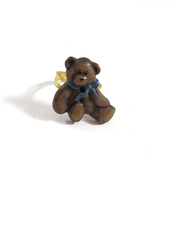 Brown Teddy Bear Adjustable Ring