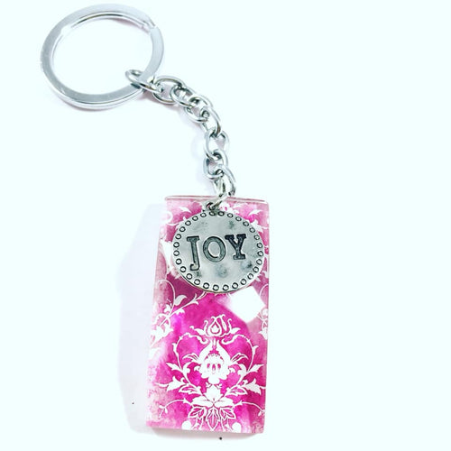 Joy Charm Glass Pendant Key Chain