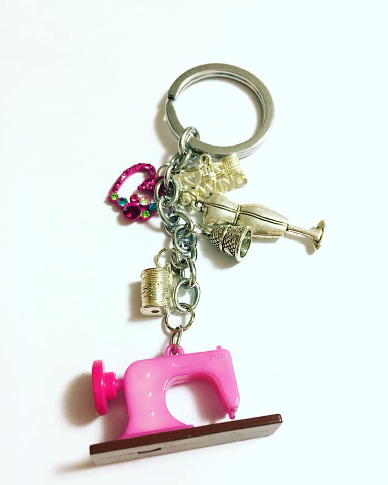 Pink Sewing Machine Key Chain