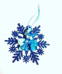 Cute Pony Snowflake Christmas Ornament
