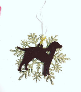 Chocolate Lab Snowflake Christmas Ornament