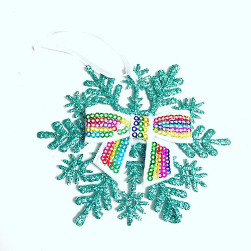 Rainbow Sequin Bow Snowflake Christmas Ornament