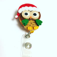 Load image into Gallery viewer, Christmas Owl Name Badge Reel
