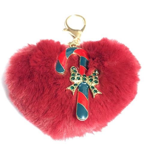 Candy Cane Pom Pom Key Chain