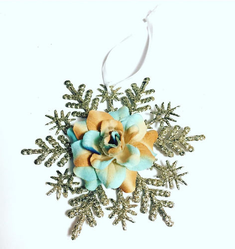 Flower Snowflake Christmas Ornament