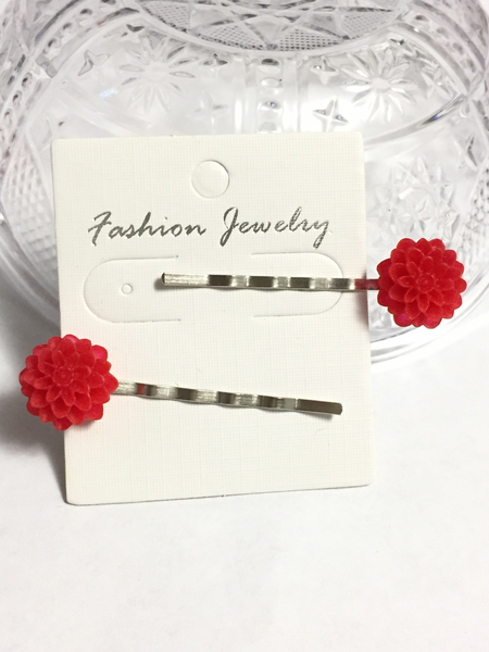 Red Chrysanthemum Flower Hair Pins