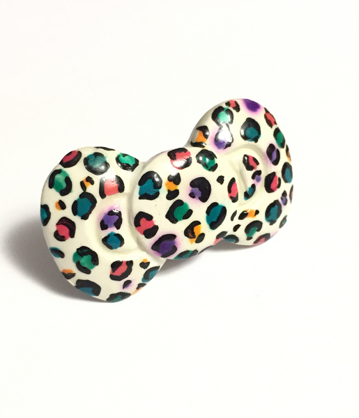 Colorful Leopard Print Bow Ring