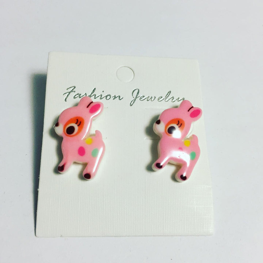 Pink Deer Earrings