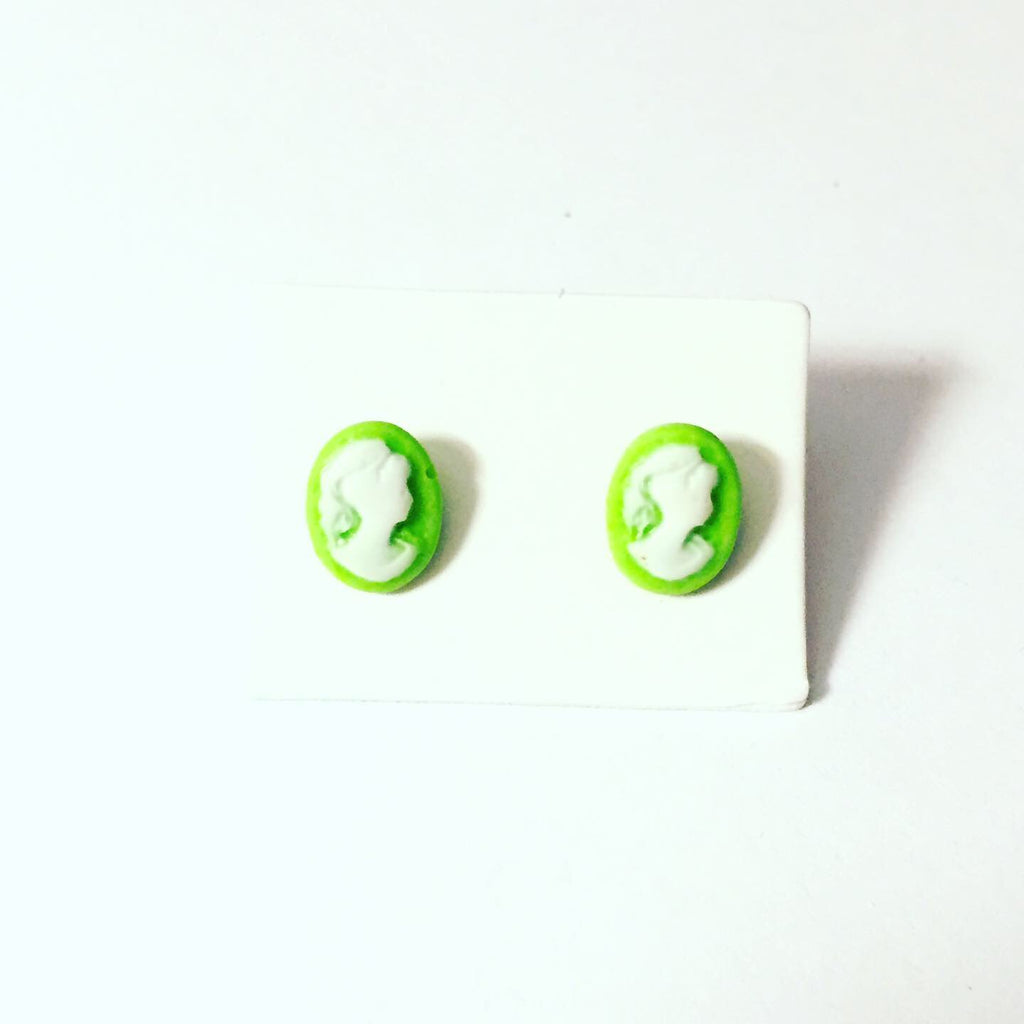 Green Cameo Earrings