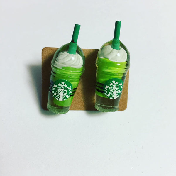 Green Tea Drink Earrings