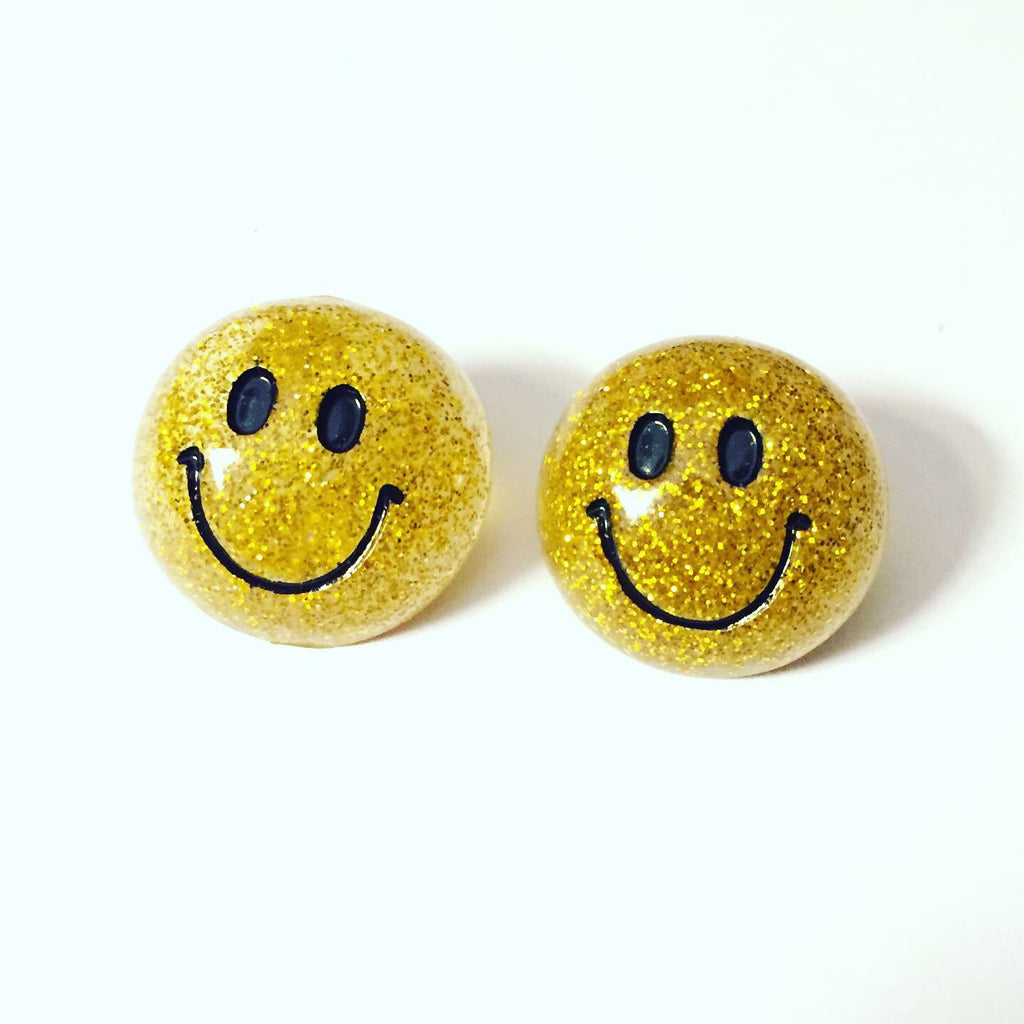Gold Smiley Face Earrings
