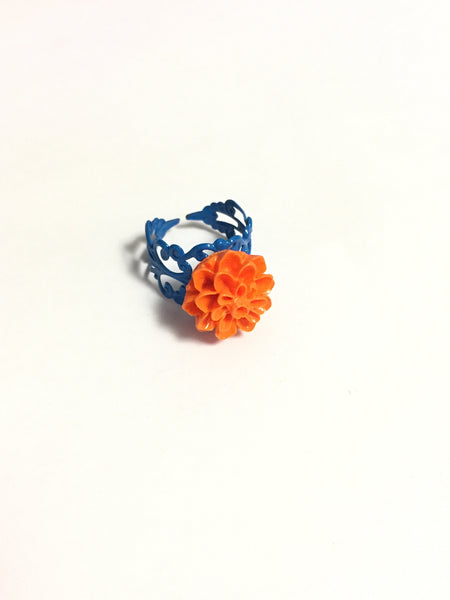 Orange Chrysanthemum Adjustable Ring