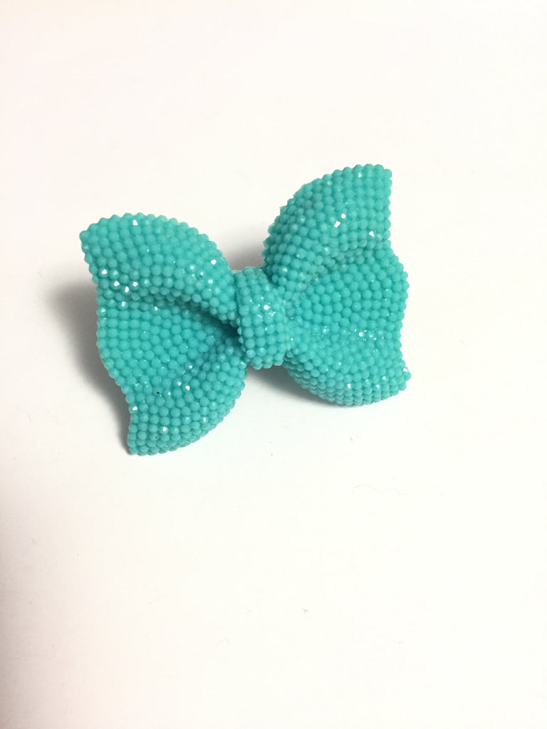 Blue Rhinestone Bow Adjustable Ring