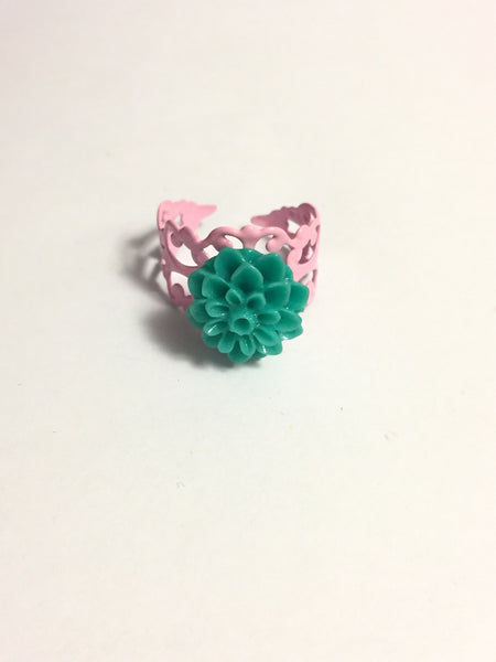Teal Chrysanthemum Ring