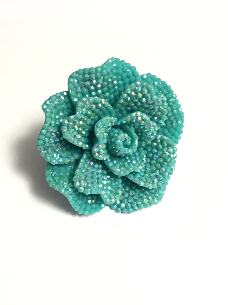 Blue Rhinestone Flower Ring