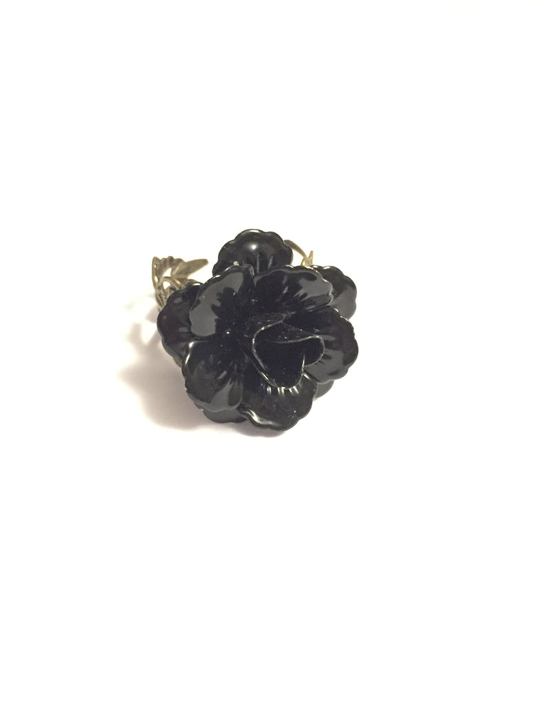 Black Rose Adjustable Ring