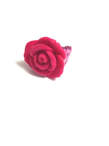 Dark Pink Velvet Flower Adjustable Ring