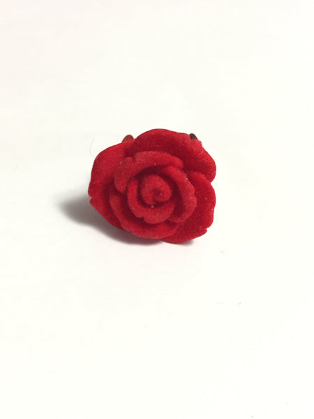 Red Velvet Flower Adjustable Ring