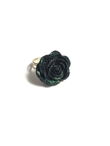 Sparkling Black Rose Adjustable Ring