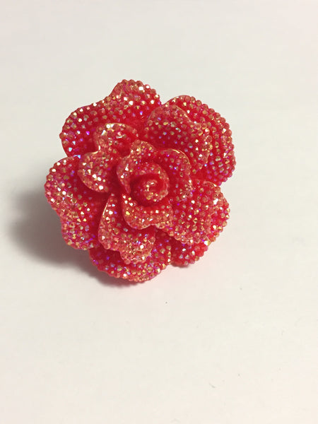 Red Rhinestone Flower Ring
