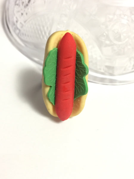 Hot Dog Eraser Adjustable Ring
