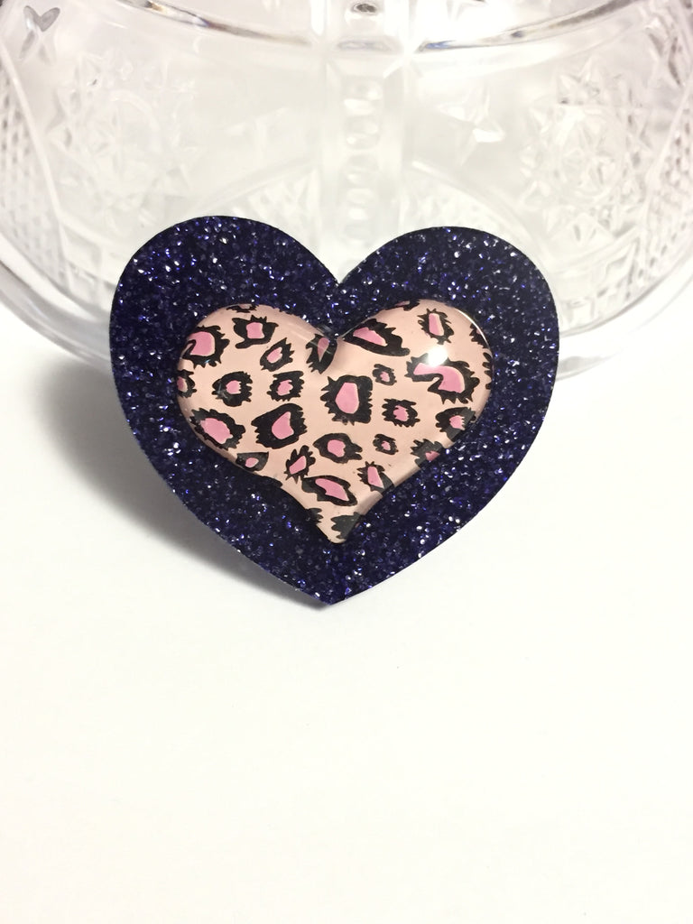 Leopard Print Heart Ring
