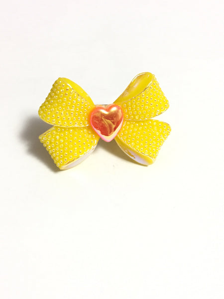 Yellow Rhinestone Bow Ring