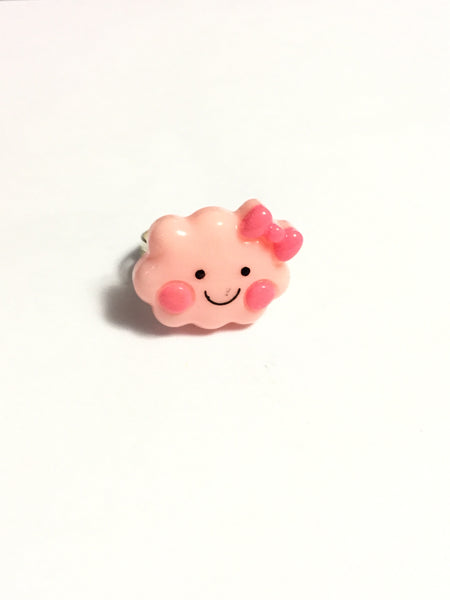 Pink Happy Face Cloud Ring