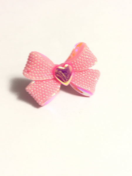 Pink Rhinestone Bow Adjustable Ring