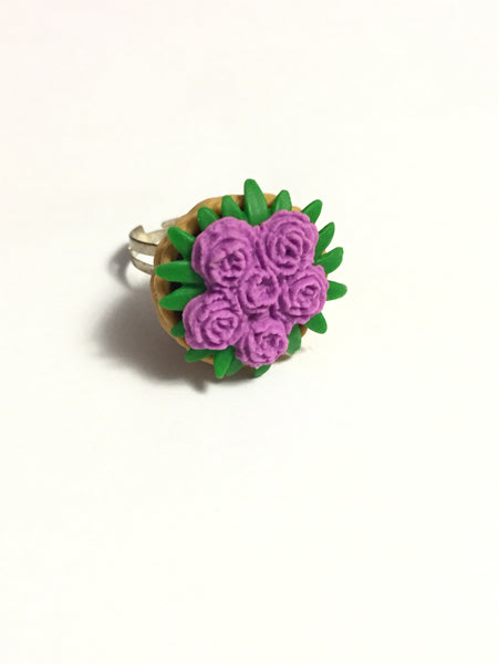 Purple Flowers Bouquet Ring