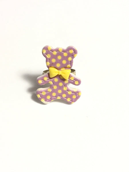Purple Teddy Bear Ring