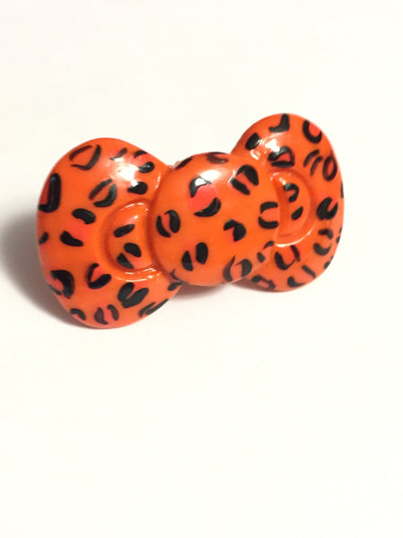 Orange Leopard Print Bow Ring