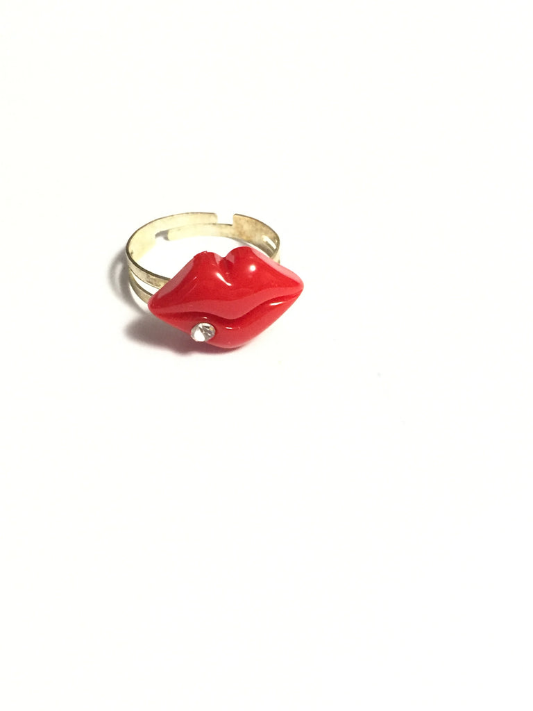 Red Lips Adjustable Ring